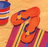 Orange Flip Flops Art Print