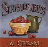 Strawberries & Cream - mini Art Print