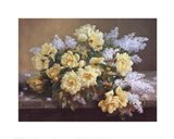 Still Life of Yellow Roses with Lilacs Art Print