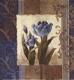 Blue Tulip Scroll Art Print