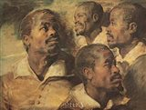 Four Negro Heads Art Print