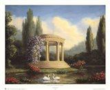 Garden with Swans and Gazebo Art Print