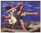 Deux Femmes Courant sur la Plage Art Print