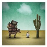 Mr. Penguin Goes on Holiday Art Print