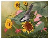 Chickadee & Sunflowers Art Print