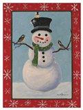 Snowman & Chickadees Art Print