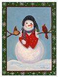 Snowman & Cardinals Art Print
