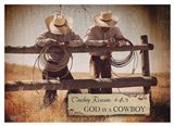 God is a Cowboy Art Print