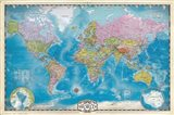 Map of the World with Poles Art Print
