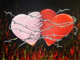 Hearts Together Crashing Hearts Art Print