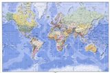 Political/Physical Map of the World - (mercator projection) Art Print