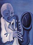 Blue Jazzman II Art Print