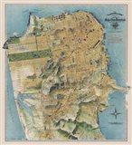 Map of San Francisco, California, 1912 Art Print