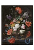 Abraham Mignon, Still Life with Flowers and a Watch Art Print