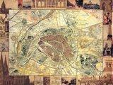 Carte de Paris II Art Print