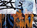 Blue Orange Layers 1 Art Print