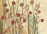 Five Little Birds Playing Amongst the Poppies Art Print