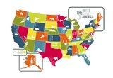 USA Map (bright) Art Print