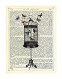 Bird Cage & Butterflies Art Print