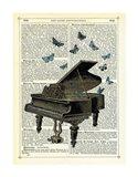 Piano & Butterflies Art Print