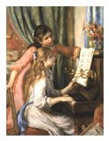 Two Young Girls at the Piano Art Print