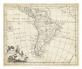 Map of South America Art Print