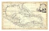Map of West Indies Art Print
