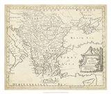 Map of Hungary & Turkey in Europe Art Print