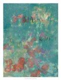 Teal Rose Garden II Art Print