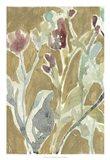 Flowers on Ochre I Art Print