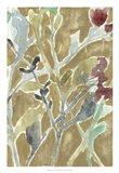 Flowers on Ochre II Art Print
