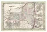 Johnson's Map of New York Art Print