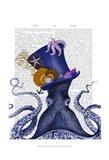 Octopus Nautical Hat Art Print