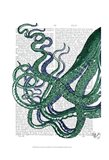 Octopus Tentacles Green and Blue Art Print