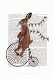 Rabbit On Penny Farthing Art Print