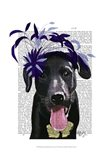 Black Labrador With Blue Fascinator Art Print