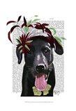 Black Labrador With Green Fascinator Art Print