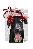 Black Labrador With Red Fascinator Art Print