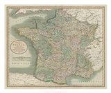 Vintage Map of France Art Print