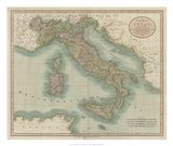 Vintage Map of Italy Art Print