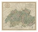 Vintage Map of Switzerland Art Print