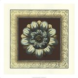 Brown & Blue Rosettes I brown Art Print