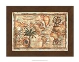 World Map with Globe Art Print