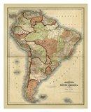 Antique Map of South America Art Print