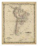 Johnson's Map of South America Art Print