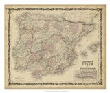 Johnson's Map of Spain & Portugal Art Print