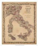 Johnson's Map of Italy Art Print