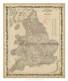 Johnson's Map of England & Wales Art Print