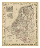 Johnson's Map of Holland & Belgium Art Print