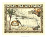 Tropical Map of West Indies Art Print